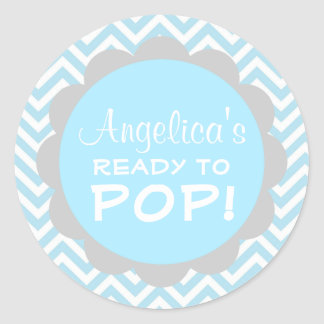 Personalized Ready to Pop Baby Shower Blue Boy Classic Round Sticker