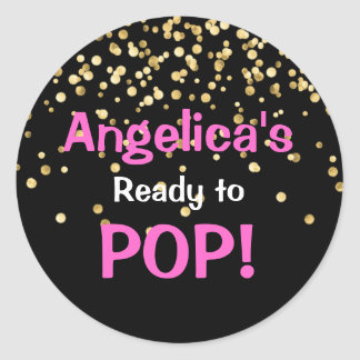 Personalized Ready to Pop Baby Shower Hot Pink Classic Round Sticker