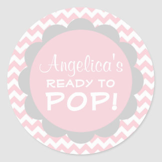 Personalized Ready to Pop Baby Shower Pink Girl Classic Round Sticker