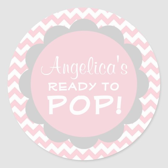 Personalized Ready To Pop Baby Shower Pink Girl Classic Round