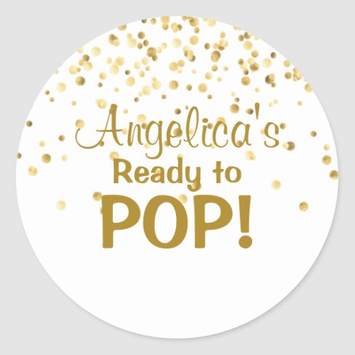 Personalized Ready to Pop Baby Shower White Classic Round Sticker