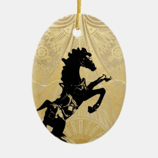 Personalized Rearing Horse, Christmas Tree Holiday Ceramic Ornament