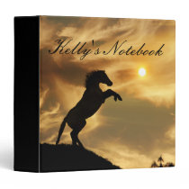 Personalized Rearing Horse in the Sun Notebook 3 Ring Binder