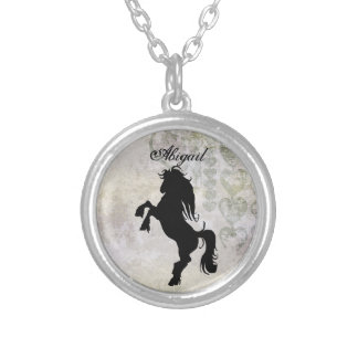Personalized Rearing Horse Silhouette  Necklace