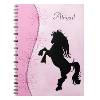Personalized Rearing Silhouette Horse and Flowers Spiral Notebook