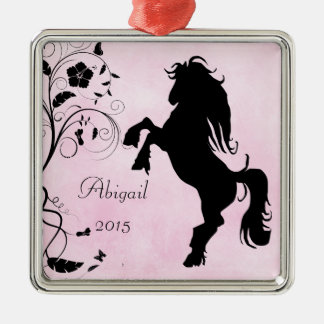 Personalized Rearing Silhouette Horse Pink Black Square Metal Christmas Ornament