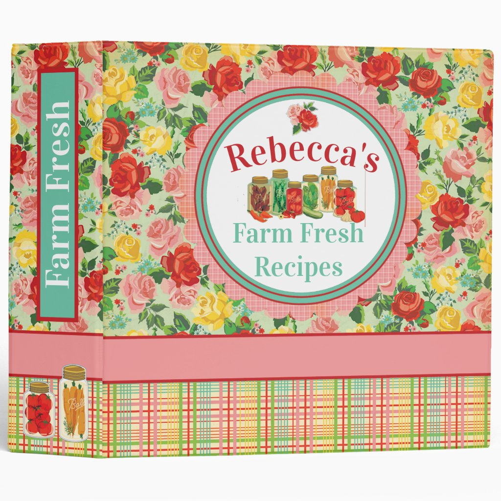 Personalized Recipe Binder Flowers and Plaid