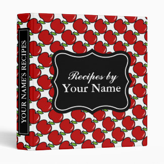 Personalized recipe binder | red apple pattern