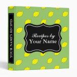 Personalized recipe binder | yellow lemon pattern