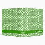 Personalized Recipe Book Binder, Green Lattice Binder