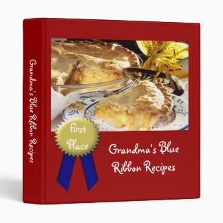 Personalized Recipe Book, Grandma's Blue Ribbon Vinyl Binders