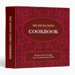 Personalized Recipe Book with Red Circles 3 Ring 3 Ring Binder