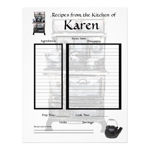 Personalized recipe page letterhead template
