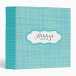 Personalized Recipe Plaid and Stripes Pattern Binder