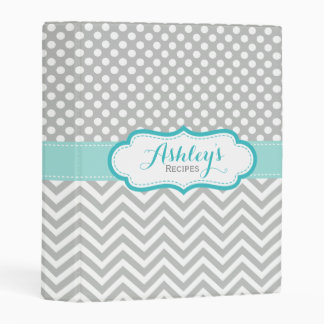 Personalized Recipe Polka Dots Chevron Gray Mint Mini Binder