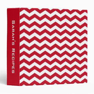 Personalized Recipe Red Chevron Stripes Pattern Binder