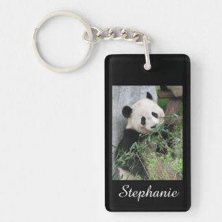 Personalized Rectangular Panda on Black Background Keychain