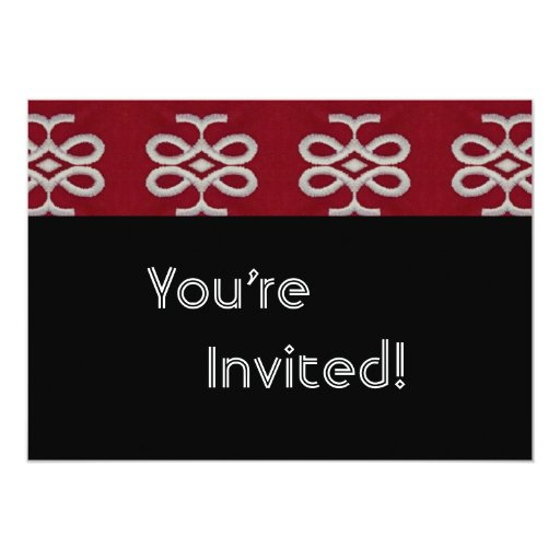 Personalized Red and Black Housewarming Party 5x7 Paper Invitation Card