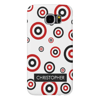 Personalized Red and Black Retro circle pattern Samsung Galaxy S6 Cases