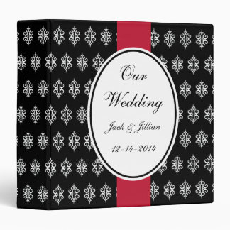 Personalized Red and Black Wedding Scrapbook 3 Ring Binder