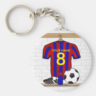 Personalized Red and Blue Football Soccer Jersey Basic Round Button Keychain