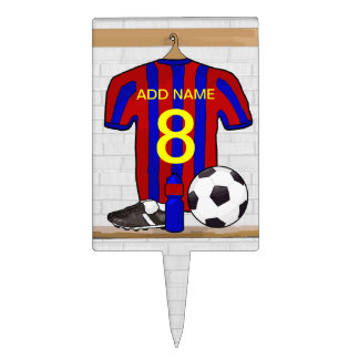 Personalized Red and Blue Football Soccer Jersey Cake Topper