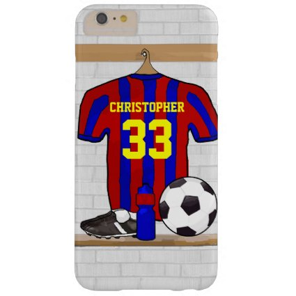 Personalized Red and Blue Football Soccer Jersey Barely There iPhone 6 Plus Case