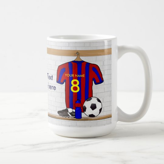 Personalized Red and Blue Football Soccer Jersey Coffee Mug