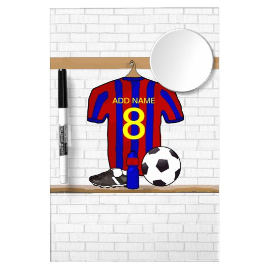 Personalized Red and Blue Football Soccer Jersey Dry Erase Board With Mirror
