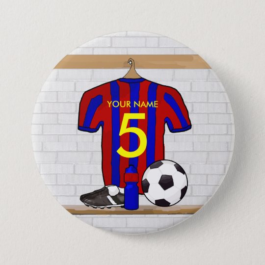 Personalized Red and Blue Football Soccer Jersey Pinback Button