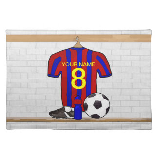 Personalized Red and Blue Football Soccer Jersey Cloth Place Mat