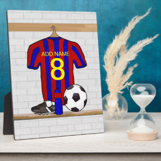 Personalized Red and Blue Football Soccer Jersey Display Plaque