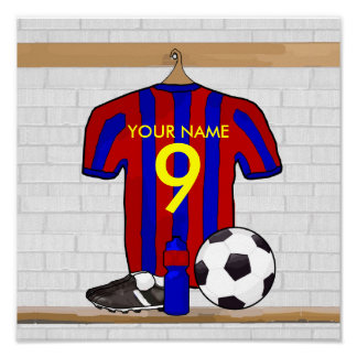 Personalized Red and Blue Football Soccer Jersey Poster
