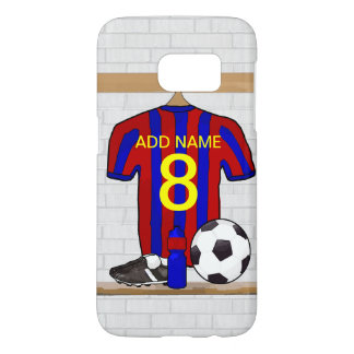 Personalized Red and Blue Football Soccer Jersey Samsung Galaxy S7 Case