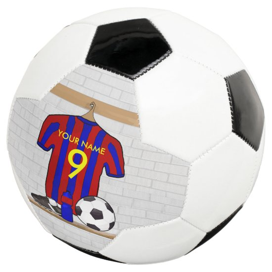 Personalized Red and Blue Football Soccer Jersey Soccer Ball