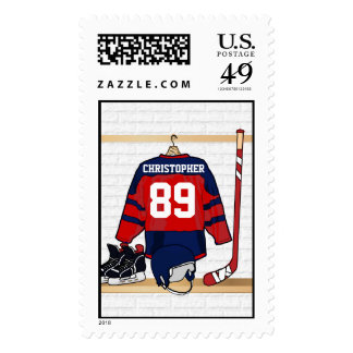 Personalized Red and Blue Ice Hockey Jersey Postage Stamps