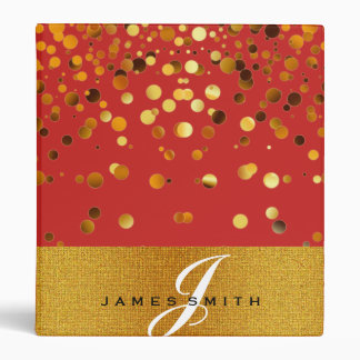 Personalized Red and Gold Faux Confetti Glitter 3 Ring Binder