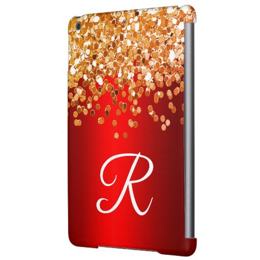 Personalized Red and Gold Glitter Monogram Case For iPad Air