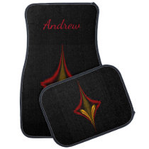 Personalized Red and Gold Top on Black Car Mats