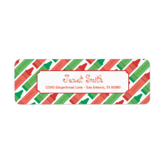 Personalized Red and Green Crayon Holiday Return Address Label