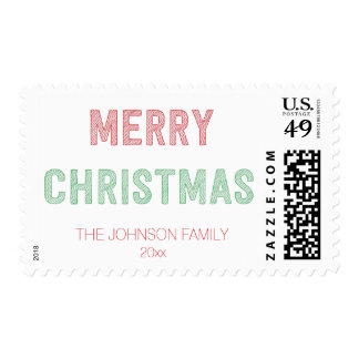 Personalized Red And Green Merry Christmas Stamps