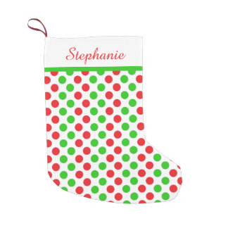 Personalized Red and Green Polka Dot  Christmas Small Christmas Stocking