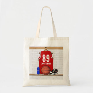 Personalized Red and White Basketball Jersey Canvas Bag