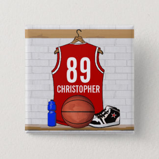 Personalized Red and White Basketball Jersey Button