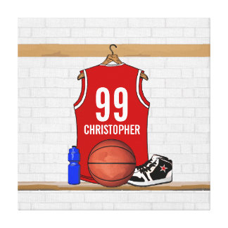 Personalized Red and White Basketball Jersey Canvas Print