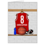 Personalized Red and White Basketball Jersey Greeting Card