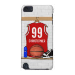 Personalized Red and White Basketball Jersey iPod Touch (5th Generation) Case