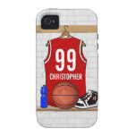 Personalized Red and White Basketball Jersey Case-Mate iPhone 4 Covers