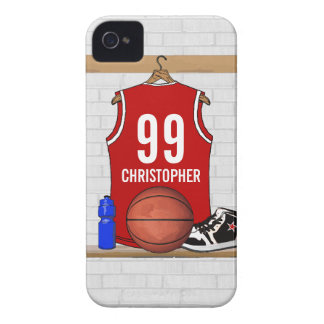 Personalized Red and White Basketball Jersey iPhone 4 Case-Mate Cases