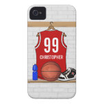 Personalized Red and White Basketball Jersey iPhone 4 Cover